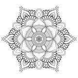 Мандала цветка черная Восточная картина, иллюстрация вектора Ислам, арабские, индийские мотивы тахты Страница книжка-раскраски Стоковая Фотография