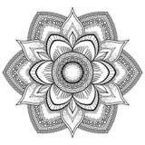 Мандала цветка черная Восточная картина, иллюстрация вектора Ислам, арабские, индийские мотивы тахты Страница книжка-раскраски Стоковое Изображение RF