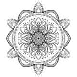 Мандала цветка черная Восточная картина, иллюстрация вектора Ислам, арабские, индийские мотивы тахты Страница книжка-раскраски Стоковые Изображения