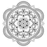 Мандала цветка черная Восточная картина, иллюстрация вектора Ислам, арабские, индийские мотивы тахты Страница книжка-раскраски Стоковая Фотография RF