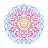 Мандала цветка Элементы Printable пакета декоративные Восточный, мистический, картина алхимии Шаблон страницы расцветки голубой в Стоковые Изображения
