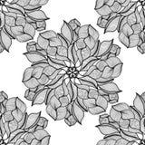 мандала Черно-белый круглый орнамент также вектор иллюстрации притяжки corel Стоковое Изображение