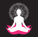 Мандала asana раздумья йоги Стоковая Фотография RF