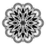 Мандала, zentangle воодушевила иллюстрацию, черно-белую Стоковая Фотография RF