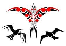 Маорийские дизайны птицы Koru с Tui иллюстрация вектора