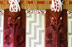 Маорийские carvings стены Стоковые Фотографии RF