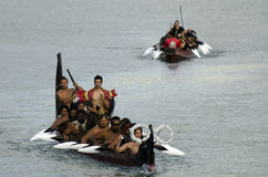 Маорийское каное Waka войны Стоковые Изображения RF