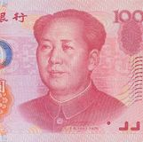 Мао Дзе Дун на банкноте юаней китайца 100 Стоковые Фотографии RF