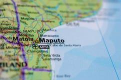 Мапуту на карте Стоковое Изображение