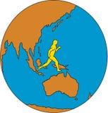 Марафонец бежать вокруг чертежа Asia Pacific мира иллюстрация штока