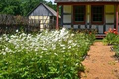 Маргаритки и маки, квадратный сад ноги, немецкий дом и амбар Стоковые Изображения