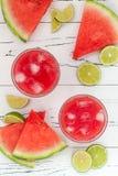 Маргариты арбуза - мексиканский коктеиль спирта арбуза лета стиля с известкой Рецепт питья Cinco de Mayo Стоковые Изображения RF