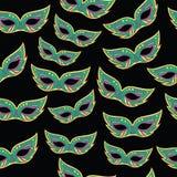 Марди Гра маскирует безшовную картину Предпосылка doodle шаржа Ve бесплатная иллюстрация