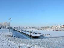 Марина в зиме, Литва Silute Стоковое фото RF