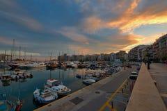 Марина Пирея в Афинах на Twilight времени Стоковая Фотография RF