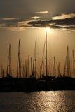 Марина яхты на заходе солнца Стоковые Изображения RF