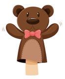 Марионетка руки медведя с розовым смычком иллюстрация штока
