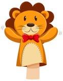 Марионетка руки льва с красным смычком иллюстрация вектора