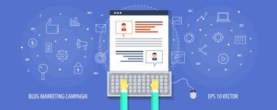 Маркетинговая кампания блога - гость blogging, продвижение на социальных средствах массовой информации, концепция блога содержимо Стоковое Изображение RF