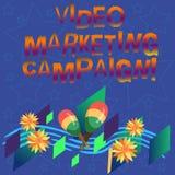 Маркетинговая кампания текста почерка видео- Смысл концепции определяя преимущество аппаратуры Maracas цифровой кампании красочно стоковые изображения rf