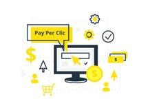 Маркетинг интернета, концепция рекламы в линии и плоский стиль PPC оплачивает согласно с щелчок - иллюстрация Стоковые Изображения