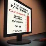 Маркетинг интернета на мониторе показывая запутанность Emarketing иллюстрация штока