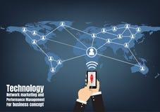 Маркетинг и менеджмент по эксплуатации сети технологии иллюстрация вектора