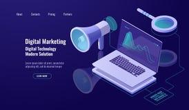 Маркетинг и продвижение цифров, реклама онлайн, громкоговоритель с ноутбуком и лупа, данные исследуя и стоковое фото