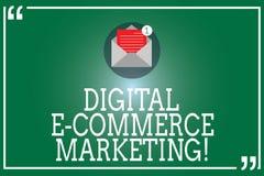 Маркетинг коммерции цифров e текста почерка Концепция знача приобретение и продажу конверта товары и услуги онлайн открытого с бесплатная иллюстрация