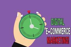 Маркетинг коммерции цифров e текста почерка Концепция знача приобретение и продажу руки анализа Hu товары и услуги онлайн иллюстрация штока