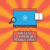 Маркетинг коммерции цифров e текста почерка Концепция знача приобретение и продажу планшета товары и услуги онлайн иллюстрация штока