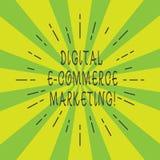 Маркетинг коммерции цифров e текста почерка Концепция знача приобретение и продажу луча товары и услуги онлайн тонкого иллюстрация вектора