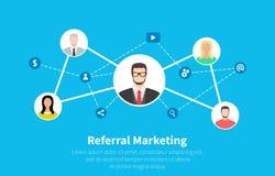 Маркетинг направления, маркетинг сети, партнерство дела, стратегия программы направления Плоский дизайн шаржа, вектор иллюстрация вектора