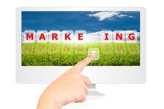 маркетинг руки принципиальной схемы дела отжимая слово Стоковое фото RF