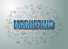 Маркетинг с стилем дизайна Doodle Стоковая Фотография