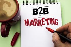 Маркетинг текста B2B сочинительства слова Концепция дела для дела к коммерции торговых операций дела написанной человеком на прим Стоковое Фото