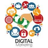 Маркетинг цифров вектора иллюстрации графический Стоковые Изображения