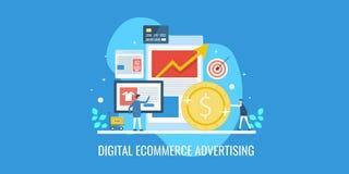 Маркетинг цифров, дело ecommerce, приобретение от онлайн магазина, электронная оплата клиента, концепция клиента цели Плоское зна иллюстрация штока
