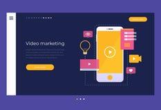 Маркетинг цифров и концепция передвижного видео Название для вебсайта homepage бесплатная иллюстрация