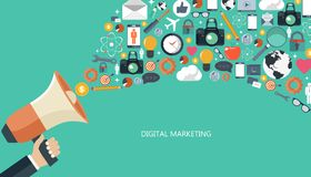 Маркетинг цифров и концепция рекламы Плоская иллюстрация иллюстрация вектора