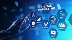 Маркетинг цифров, реклама онлайн, SEO, SEM, SMM Дело и принципиальная схема интернета стоковые изображения