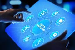 Маркетинг цифров, реклама онлайн, SEO, SEM, SMM Дело и принципиальная схема интернета стоковое фото