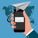 Маркетинг электронной почты, мобильный телефон, иллюстрация вектора Стоковое Фото