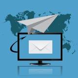 Маркетинг электронной почты, монитор, иллюстрация вектора Стоковое Фото