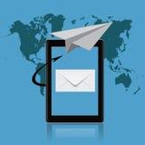 Маркетинг электронной почты, таблетка, иллюстрация вектора Стоковая Фотография