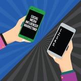 Маркетинг Influencer средств массовой информации текста почерка социальный Анализ Hu рекламы 2 блоггера смысла концепции онлайн с иллюстрация штока