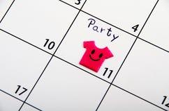 Маркированная дата для партии на календаре. Стоковая Фотография