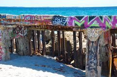 Маркировать детали: Волнорез в Fremantle, западной Австралии Стоковые Изображения
