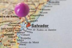 Маркировка Pushpin на Сальвадоре de BahÃa, Бразилии Стоковая Фотография RF