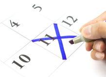 Марк на календаре на 11 Стоковое Изображение